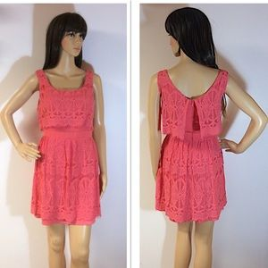 AS U WISH LACE CORAL DRESS